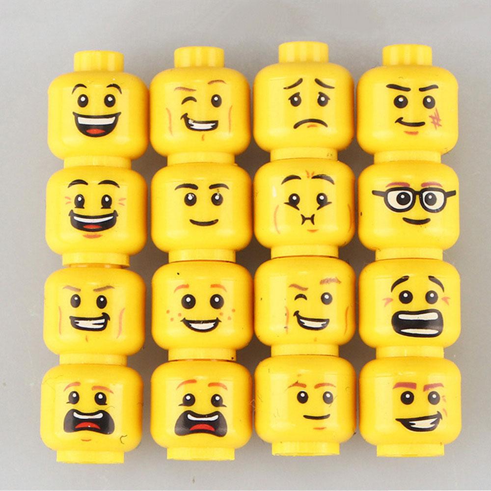 Minifigura férfi arcok - 16 darab - KÉSZLETRŐL!