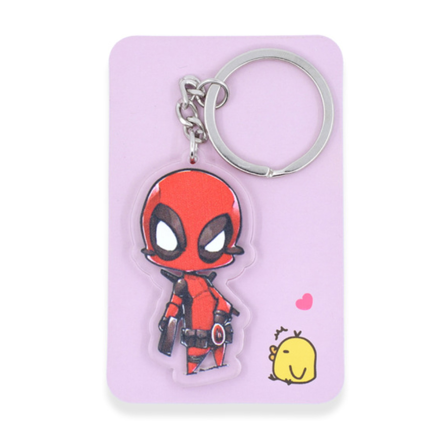 Deadpool kulcstartó, táskadísz - kézirajzos áttetsző szegéllyel - KÉSZLETRŐL!