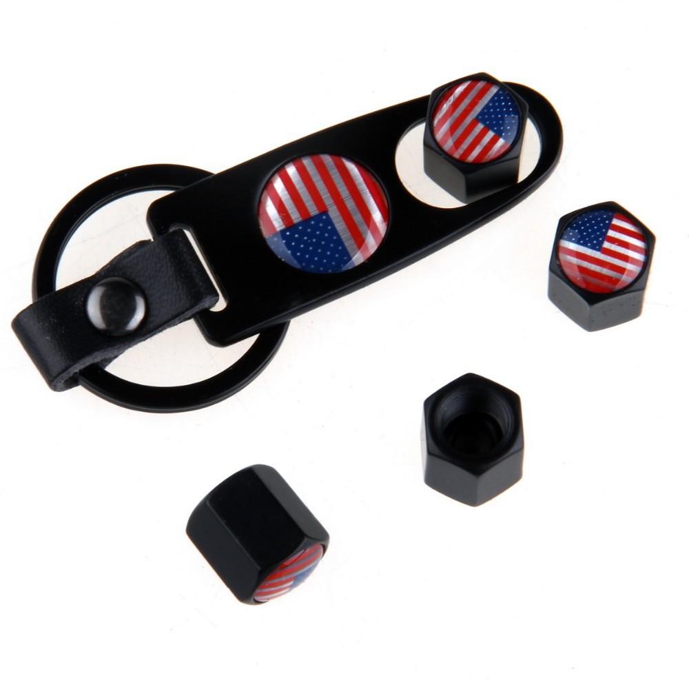 Minőségi amerikai zászlós, fekete színű szelepsapka (4db) - lelazító kulcstartóval - KÉSZLETRŐL!
