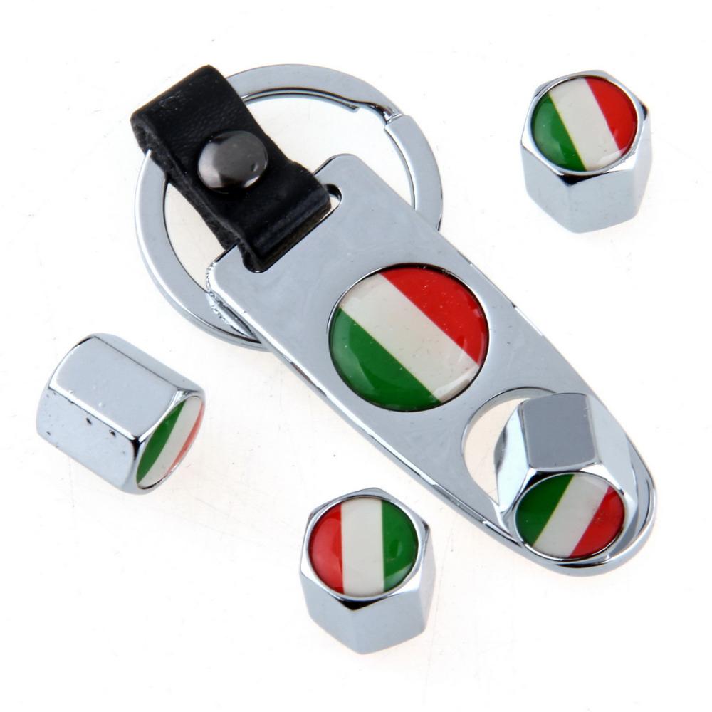 Minőségi magyar, vagy olasz zászlós, ezüst színű szelepsapka (4db) - lelazító kulcstartóval - KÉSZLETRŐL!