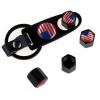 Minőségi amerikai zászlós, fekete színű szelepsapka (4db) - lelazító kulcstartóval