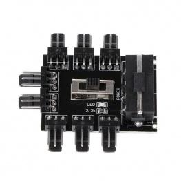 8 utas fan elosztó switch - molex csatlakozóval és sebességszabályzó kapcsolóval