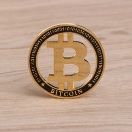 Limitált kiadású, egyedi Bitcoin érme - arany / fekete színben, érme tartóval