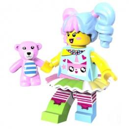 Színes lány minifigura játék mackóval