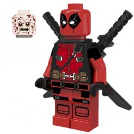 Deadpool minifigura kardokkal cserélhető fejjel