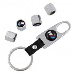 Minőségi BMW M ezüst színű szelepsapka (4db) - lelazító kulcstartóval