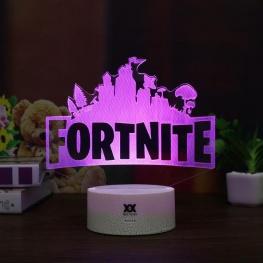7 színben világító LED-es, gravírozott Fortnite akril szobor távirányítóval