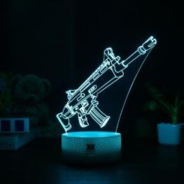 7 színben világító LED-es, gravírozott Fortnite Scar akril szobor távirányítóval