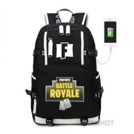 Fortnite Battle Royale hátizsák telefontöltővel - fekete színben