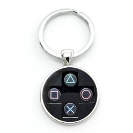PlayStation controller kulcstartó, táskadísz - fekete színben