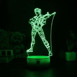 7 színben világító LED-es, gravírozott Fortnite Character Scar akril szobor távirányítóval