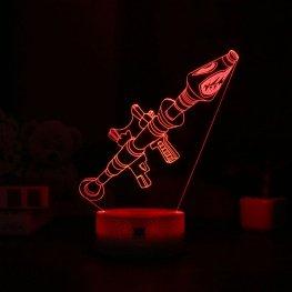7 színben világító LED-es, gravírozott Fortnite Rocket Launcher akril szobor távirányítóval