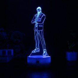 7 színben világító LED-es, gravírozott Fortnite The Reaper akril szobor távirányítóval