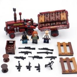 PUBG minifigura készlet fegyverekkel és tereptárgyakkal
