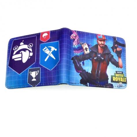 Fortnite gamer pénztárca (érmetartóval) - világoskék rácsos színben