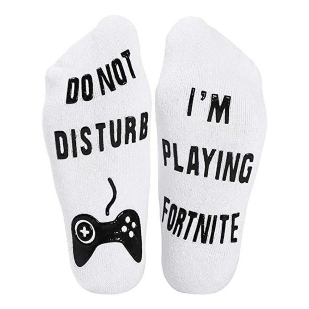 Fortnite zokni - fehér színben fekete felirattal - KÉSZLETRŐL!