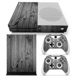 Fedő matrica Xbox One S konzolra és contollerre - sötét szürke fa színben