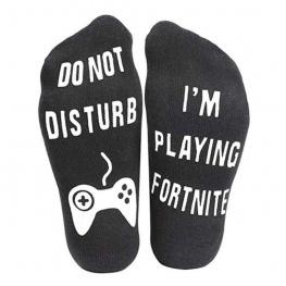 Fortnite zokni - fekete színben fehér felirattal