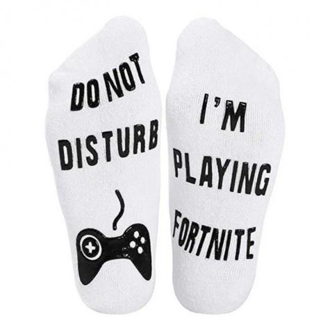 Fortnite zokni - fehér színben fekete felirattal