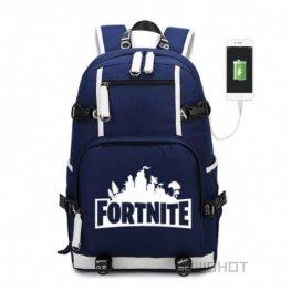 Fortnite hátizsák telefontöltővel - kék színben