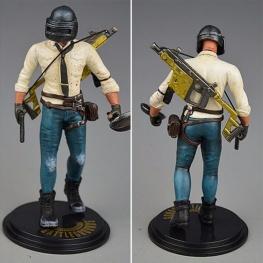 PUBG akciófigura - részletgazdag, 17 cm magas figura. hátán Vector