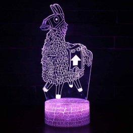 7 színben világító LED-es, gravírozott Fortnite Loot Lama akril szobor