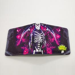 Fortnite Skull Trooper gamer pénztárca (érmetartóval) - fekete rózsaszín színben
