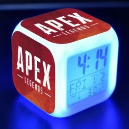 Apex éjjeli lámpa órával - piros logo színben