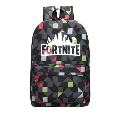 Világító Fortnite hátizsák - fekete mozaik színben