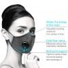Mosható pamut egészségügyi szájmaszk, állítható pánttal és cserélhető PM2.5-ös szűrőbetéttel - szürke színben