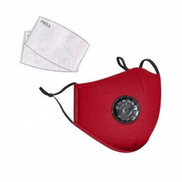 Mosható pamut egészségügyi szájmaszk, állítható pánttal és cserélhető PM2.5-ös szűrőbetéttel - piros színben