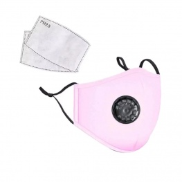 Mosható pamut egészségügyi szájmaszk, állítható pánttal és cserélhető PM2.5-ös szűrőbetéttel - rózsaszín színben