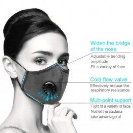 Mosható pamut egészségügyi szájmaszk, állítható pánttal és cserélhető PM2.5-ös szűrőbetéttel - fekete színben