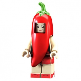 Piros paprika jelmezes minifigura