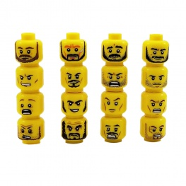 Minifigura egyedi gonosz és harcos arcok - 16 darab