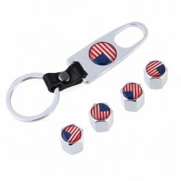 Minőségi amerikai zászlós, ezüst színű szelepsapka (4db) - lelazító kulcstartóval