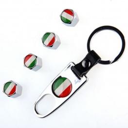 Minőségi magyar, vagy olasz zászlós, ezüst színű szelepsapka (4db) - lelazító kulcstartóval