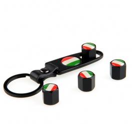 Minőségi magyar, vagy olasz zászlós, fekete színű szelepsapka (4db) - lelazító kulcstartóval