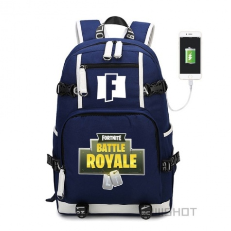 Fortnite Battle Royale hátizsák telefontöltővel - kék színben