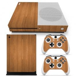 Fedő matrica Xbox One S konzolra és contollerre - diófa színben