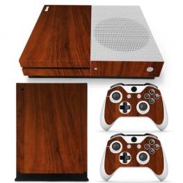Fedő matrica Xbox One S konzolra és contollerre - mahagóni fa színben