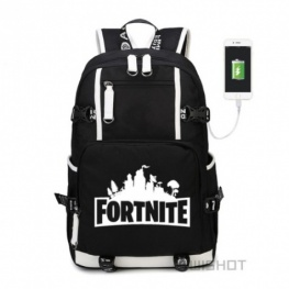 Fortnite hátizsák telefontöltővel - fekete színben