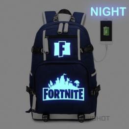 Világító Fortnite hátizsák telefontöltővel - kék színben