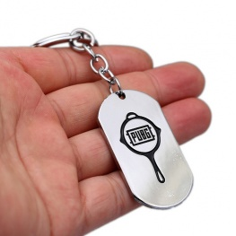 PUBG serpenyő logo kulcstartó, táskadísz - ezüst színben