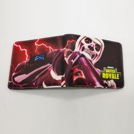 Fortnite Skull Trooper gamer pénztárca (érmetartóval) - fekete piros színben