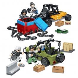 PUBG minifigura készlet fegyverekkel és járművekkel