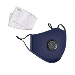Mosható pamut egészségügyi szájmaszk, állítható pánttal és cserélhető PM2.5-ös szűrőbetéttel - kék színben
